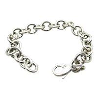 "Tiffany & Co Sterling Silver Link Charm Bracelet - 7.5"" or 19 cm"