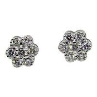 18 Karat White Gold Flower Cluster Earrings