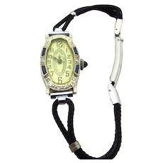 18 Karat White Gold Diamond Blue Sapphires Hoffrers Wristwatch