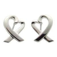 Tiffany & Co Platinum Paloma Picasso Loving Heart Earrings