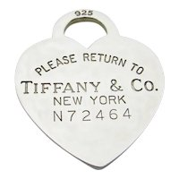 Please Return To Tiffany & Co Sterling Silver Heart Tag Pendant