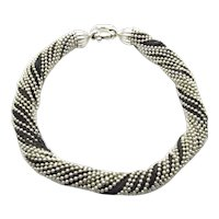 Tiffany & Co Sterling Silver Ball Bead and Chain Torsade Necklace