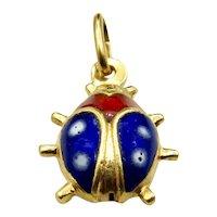 18 Karat Yellow Gold and Enamel Ladybug Charm