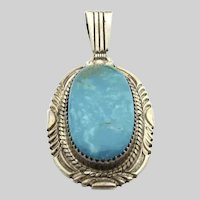 Sterling Silver Turquoise Native American Large Pendant