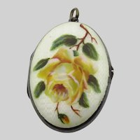 Sterling Silver Guilloche Enamel Large Oval Locket - Hand Painted Rose