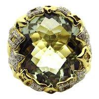 David Yurman 18 Karat Yellow Gold Green Quartz and Diamonds Ring - Size 6