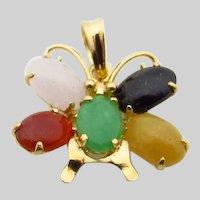 14 Karat Yellow Gold Multi Color Butterfly Jade Pendant