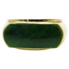 14 Karat Yellow Gold Nephrite Jade Saddle Ring - Size 8
