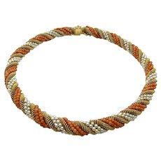 Tiffany & Co 18 Karat Yellow Gold Coral Pearl Torsade Necklace with Original Boxes