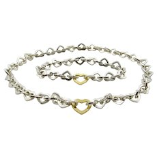 Tiffany & Co Heart Link Set - Sterling Silver 18K Yellow Gold Necklace and Bracelet