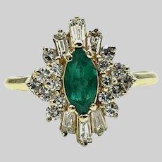 14 Karat Yellow Gold Emerald and Diamonds Ring - Size 8