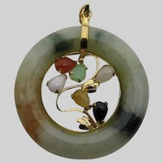 14 Karat Yellow Gold Multi Color Jade Pendant - 35 mm