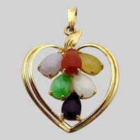 14 Karat Yellow Gold Multi Color Jade Open Heart Pendant