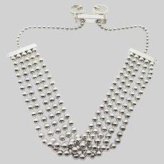 Gucci Multi Strand Sterling Silver Ball Chain GG Bracelet - Adjustable