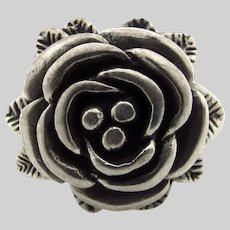 Sterling Silver Rose and Leaves Ring - Floral - Size 9.5