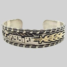 Sterling Silver and Yellow Gold Adobe Cuff Bracelet