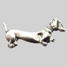 Sterling Silver Dachshund Brooch - Weiner Doxie Sausage Dog Pin