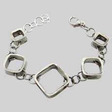 Sterling Silver Open Square Link Chain Bracelet - 7.5 Inches or 19 cm long