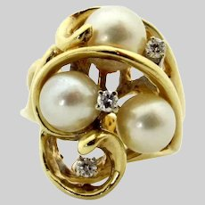14 Karat Yellow Gold Cluster Akoya Cultured Pearl and Diamond Ring - Size 6.25