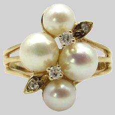 10 Karat Yellow Gold Cultured Akoya Pearl and Diamond Ring - Size 5.75