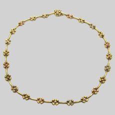 """14 Karat Yellow and Rose Gold Floral Necklace - 16 1/4"""" or 42 cm long Heavy Choker"""