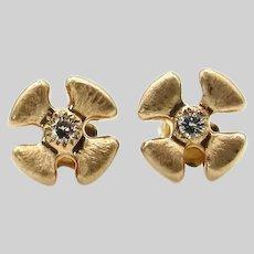14 Karat Diamond, Yellow and Rose Gold Malta Cross Post Back Earrings