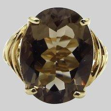 10 Karat Yellow Gold 7 ct Smokey Quartz Ring - Size 6.75