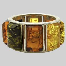 Sterling Silver Multi Stone Amber Band - Size 6