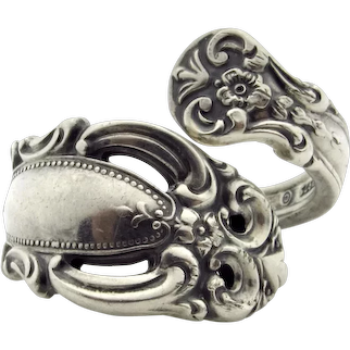 Sterling Silver Towle Spoon Ring Signed 1973 - Vintage Wide Floral Spoon Band - Size 7.5 to 8