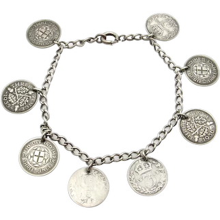 """Sterling Silver Three Pence Coin Bracelet - 7.5"""" or 20 cm"""
