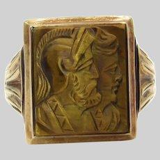 Victorian 10 Karat Yellow Gold Cameo Ring - Size 7.25