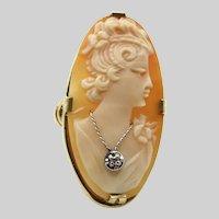 10K Yellow Gold Diamond Cameo Ring - Size 7.5