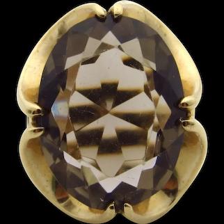 10 Karat Yellow Gold Smokey Quartz Ring - Size 3.75