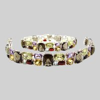 Set of 2 Multi Gemstone Wide Bracelet - Topaz, Citrine, Smokey Quartz, Garnet, Amethyst in Sterling Silver
