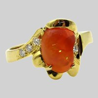 14 Karat Yellow Gold Mexican Fire Opal and Diamonds Ring