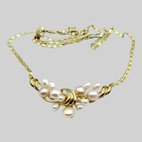 14 Karat Yellow Gold Cultured Pearls Necklace