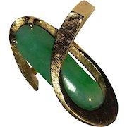 Gorgeous Large Estate 14k Apple Green Jade Ring