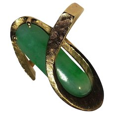 Gorgeous Large Estate 14k Apple Green Jade Ring
