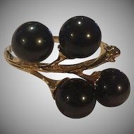 18k  Black Akoya Pearl Ring