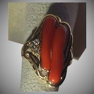 Large 14k Diamond Natural Red Coral Ring