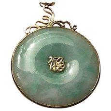 Very Large 14k   Green Jade Jadeite Pendant