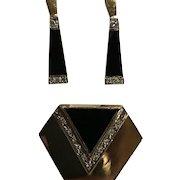 14k Stunning Art Deco Style Black Onyx Diamond Earrings & Enhancer Pendant Set