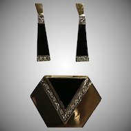 14k Stunning Art Deco Style Black Onyx Diamond Earrings & Enhancer Pendant Set