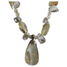 14k Hair Of Venus Rutilated Quartz Diamond Pendant & Quartz Nugget Necklace
