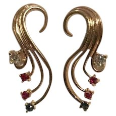 Large 14k Diamond Earrings With Red & Blue Spinels