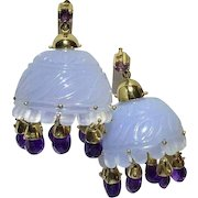 14k Blue Lavender Chalcedony Amethyst Earrings