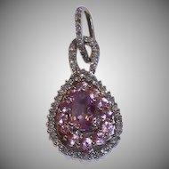 14k Genuine Sapphire Diamond Pendant