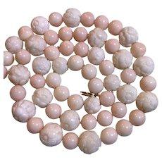 Rare 98 Grams Carved Genuine Angel Skin Coral Necklace 14k