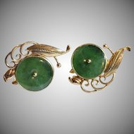 14k Ty Lee Green Jade Earrings Signed & Numbered