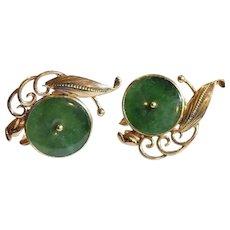 14k Ty Lee Green Jade Earrings Signed & Numbered